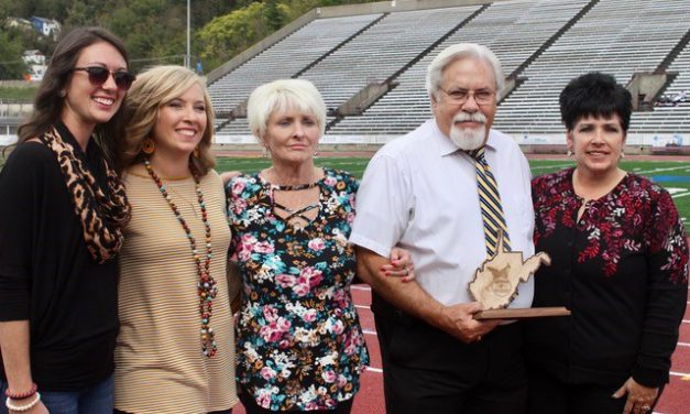 Gary Stewart, pictured here with his family, recently was inducted in the West Virginia Marching Band Directors Hall of Fame. Stewart is an Assistant Professor of Music Education at the University of Rio Grande.